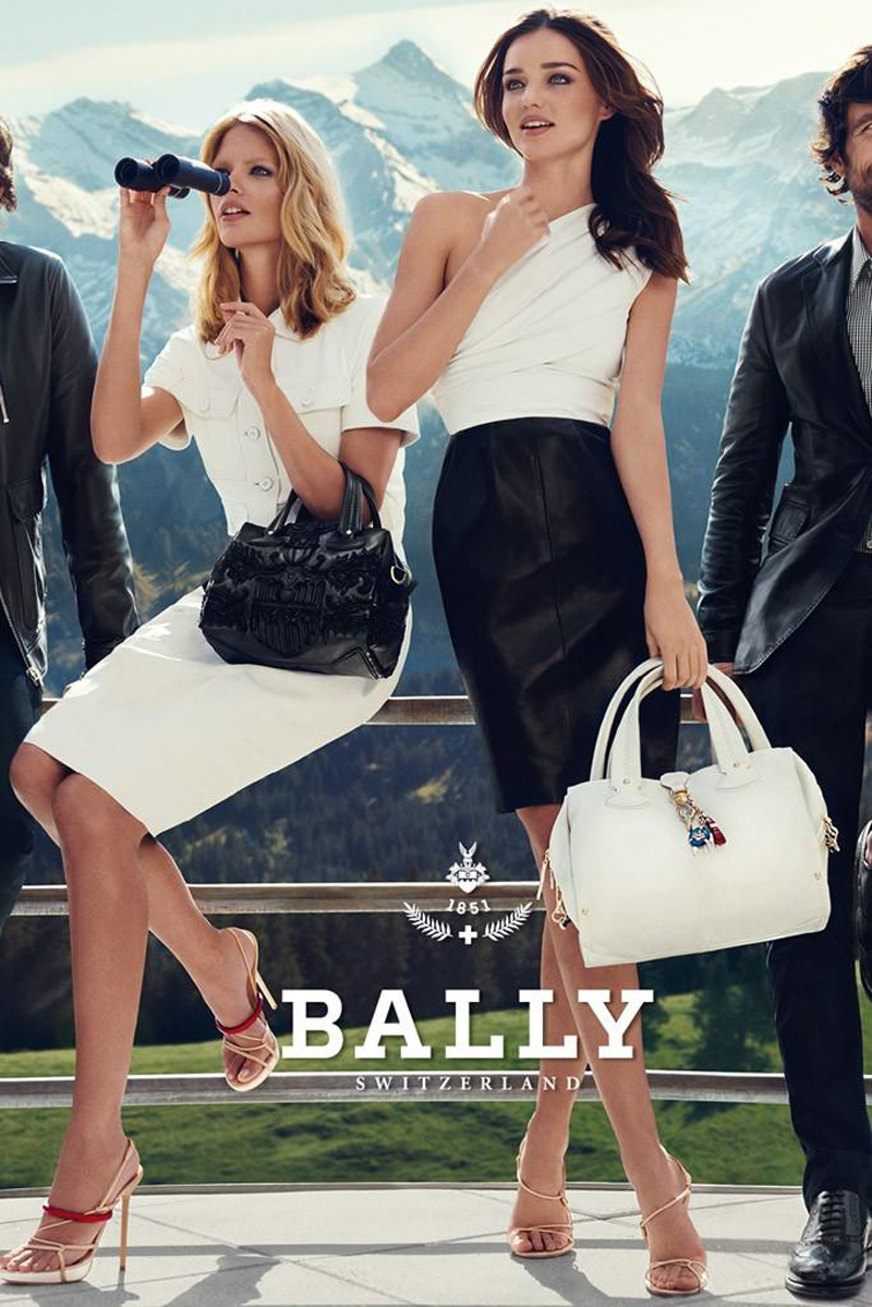 Beautiful Famous Brunette Fashion Model Miranda Kerr Modeling With Fashion Model Julia Stegner Modeling For Bally Fashion Ads And Bally Fashion Advertisements Modeling As One Of The Highest Paid Models In The World.