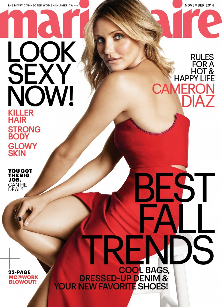 Beautiful American Actress Cameron Diaz Modeling For The Cover Of Marie Claire Modeling As One Of The Highest Paid Actresses In The World.
