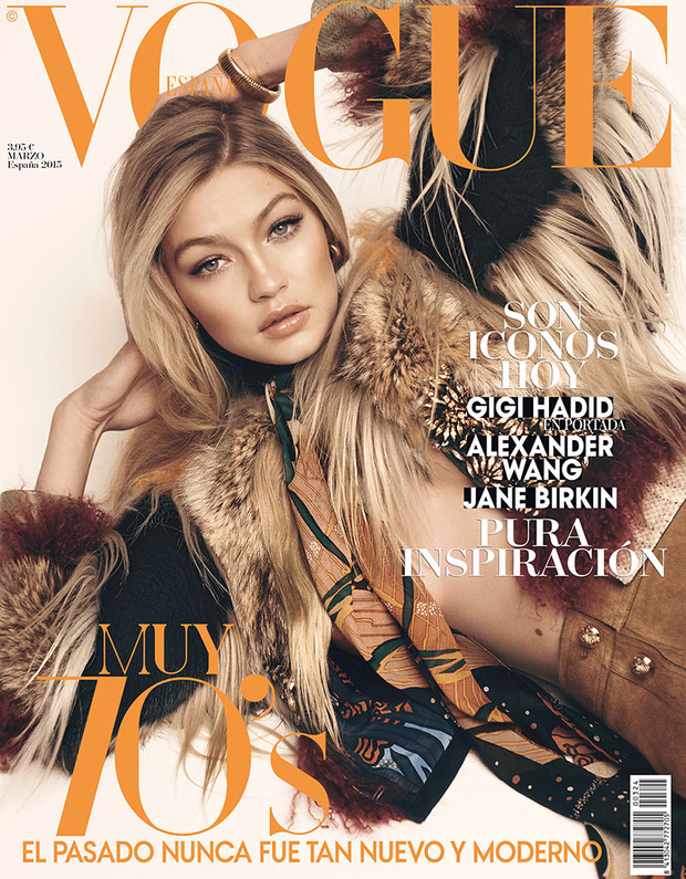 Beautiful Blonde Model Gigi Hadid Modeling For The Cover Of Vogue Spain Modeling As One Of The Highest Paid Models In The World. Beautiful Hair And Makeup Looks For The Spring And Summer Seasons.