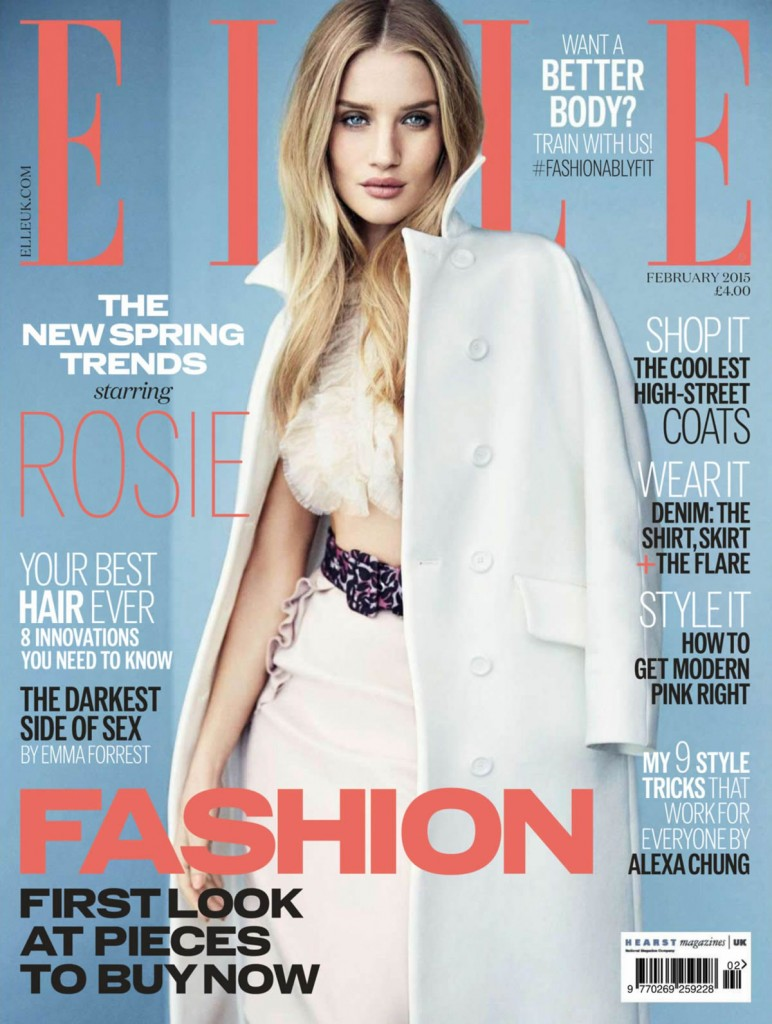Beautiful British Model Rosie Huntington-Whiteley Modeling For The Cover Of Elle UK (Elle United Kingdom) Modeling As One Of The Highest Paid Models In The World. Beautiful Hair And Makeup Looks For The Spring And Summer Seasons.