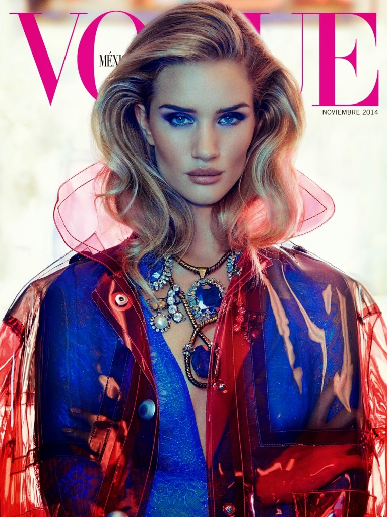 Beautiful British Model Rosie Huntington-Whiteley Modeling For The Cover Of Vogue Mexico Modeling As One Of The Highest Paid Models In The World. Beautiful Hair And Makeup Looks For The Spring And Summer Seasons.