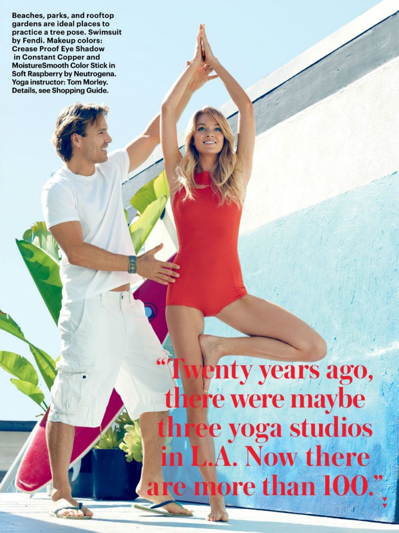 Beautiful Blonde Fashion Model Lindsay Ellingson Modeling For Allure Magazine Endless Summer Yoga Fashion Editorial Modeling As One Of The Highest Paid Models In The World.