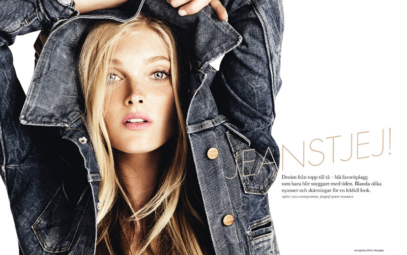 Beautiful Blonde Swedish Model Elsa Hosk Modeling For Elle Sweden Fashion Editorials Modeling In Beautiful Blue Denim Jackets Modeling As One Of The Highest Paid Models In The World.