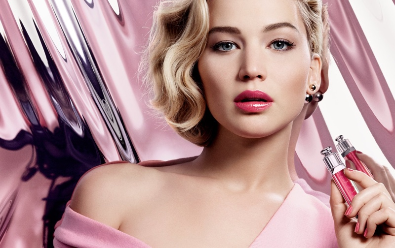 Beautiful Actress Jennifer Lawrence Modeling For Dior Lip Gloss Advertisements (Beautiful Dior Makeup Ads) Modeling As One Of The Highest Paid Actresses In The World.