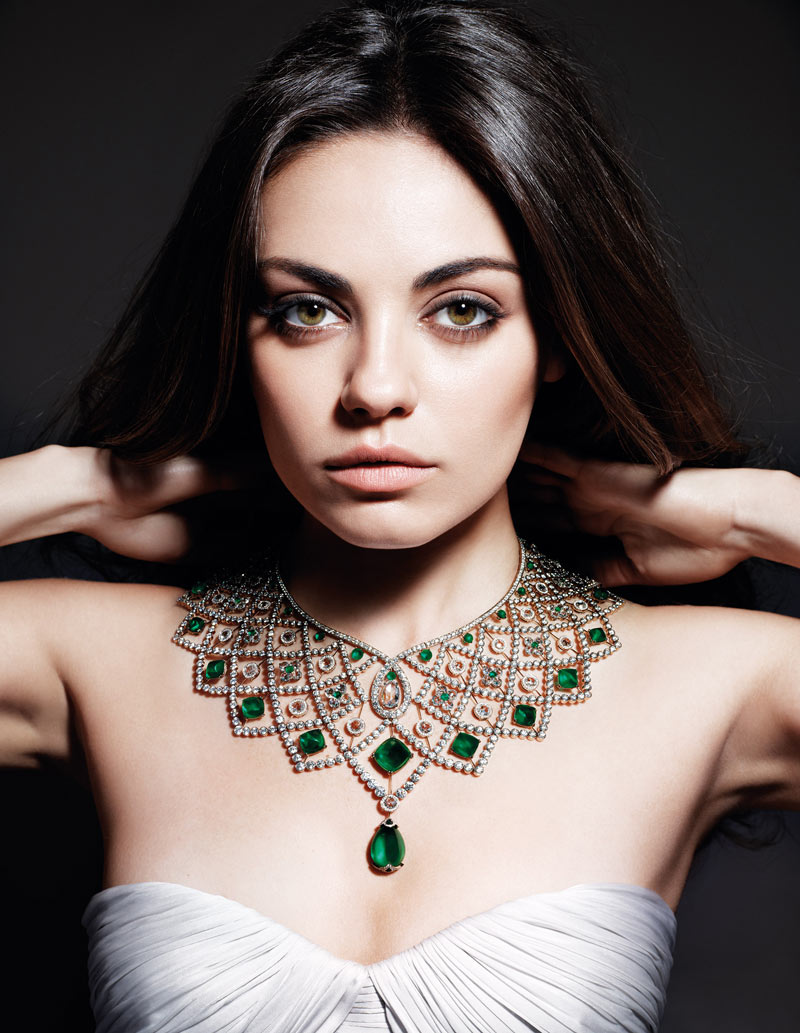 Beautiful Actress Mila Kunis Modeling For Gemfields Advertising Campaign (Beautiful Gemfields Ads) Modeling Beautiful Emeralds Modeling As One Of The Highest Paid Actresses In The World.