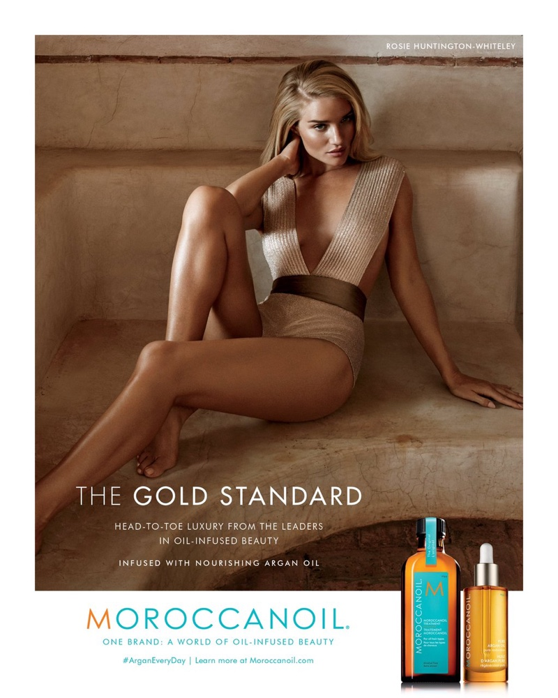 Beautiful Blonde British Model Rosie Huntington-Whiteley Modeling For The Moroccanoil Advertising Campaign (Beautiful Moroccanoil Ads And Moroccanoil Advertisements) Modeling As One Of The Highest Paid Models In The World.
