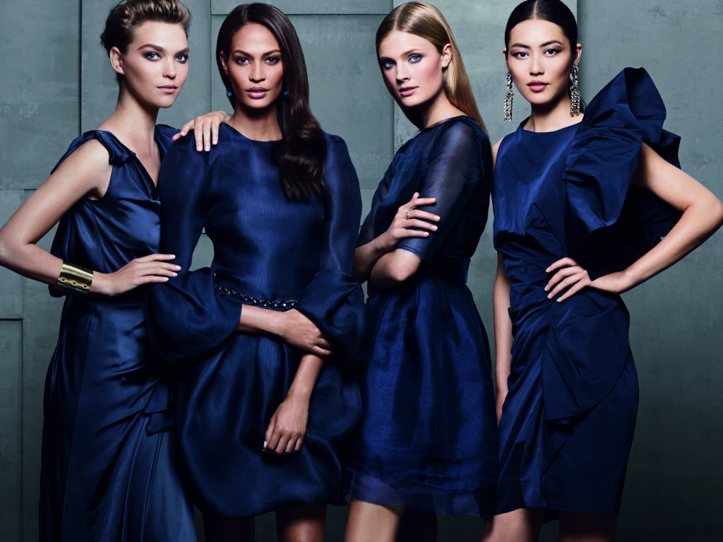 Estee Lauder Fashion Models Arizona Muse, Joan Smalls, Constance Jablonski, And Chinese Supermodel Liu Wen Modeling As One Of The Highest Paid Models In The World.
