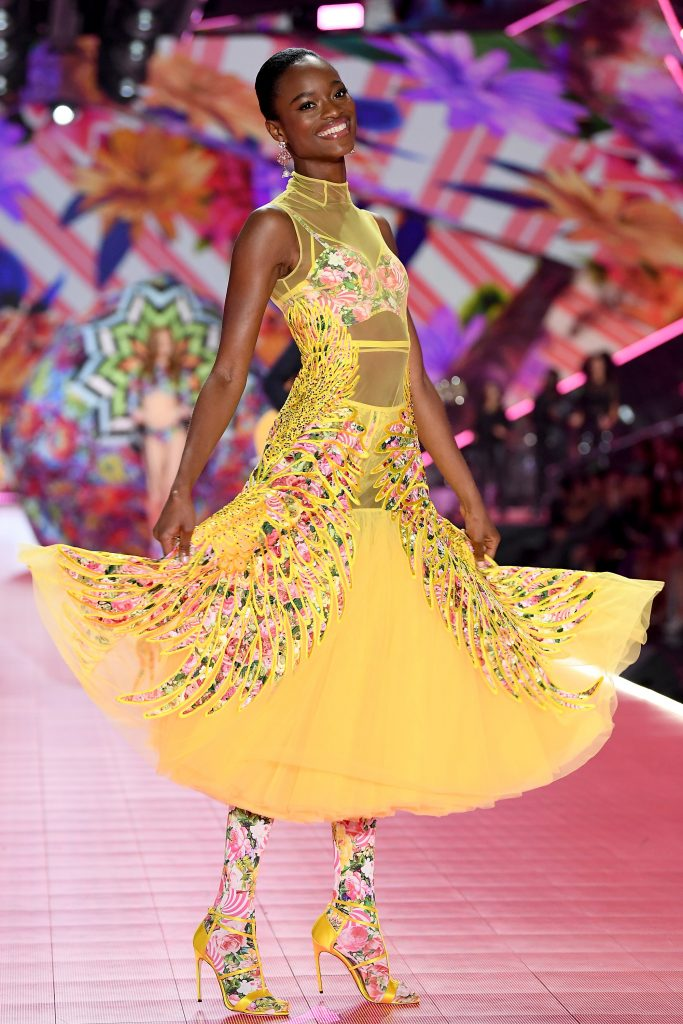 Beautiful Victoria's Secret Model Mayowa Nicholas Modeling For The Victoria's Secret Fashion Show Floral Fantasy Theme.