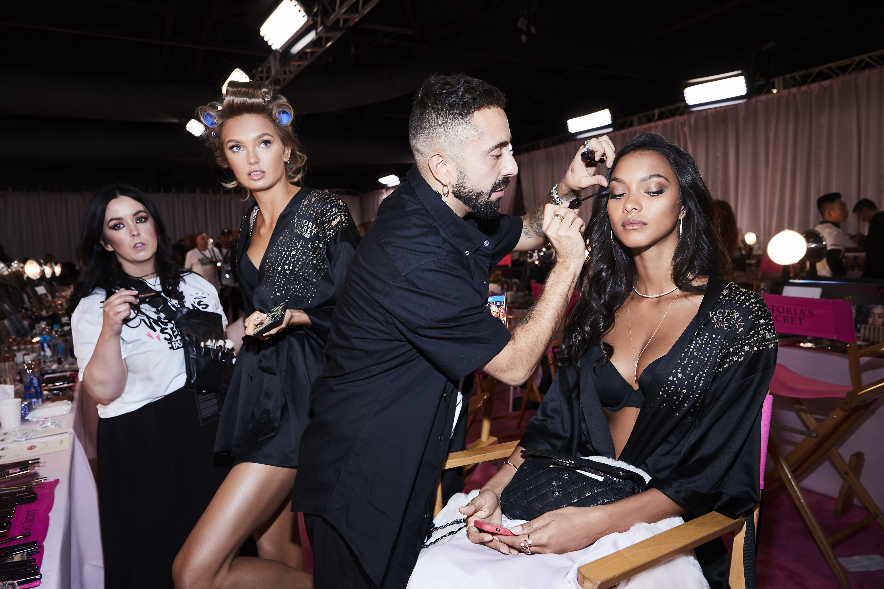 Victoria's Secret Hair & Makeup Beauty Secrets. Victoria's Secret Models Hair & Makeup Tutorials. Beautiful Victoria's Secret Models Modeling Backstage For The Victoria's Secret Fashion Show.