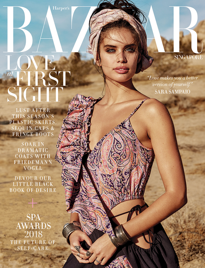 Beautiful Portuguese Fashion Model Sara Sampaio Modeling For The Cover Of Harper's Bazaar Singapore Modeling As One Of The Most Famous Portuguese Fashion Models In The World.