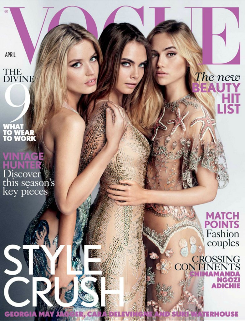 Beautiful Fashion Models Georgia May Jagger, Cara Delevingne, And Suki Waterhouse Modeling For The Cover Of British Vogue. Photographed By Mario Testino. Hair Styling By Sam McKnight.