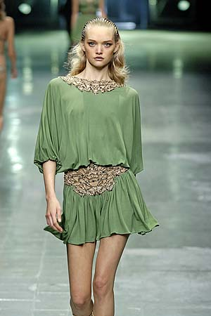 Beautiful Blonde Model Modeling For Alexander McQueen In Beautiful Green Alexander McQueen Dresses