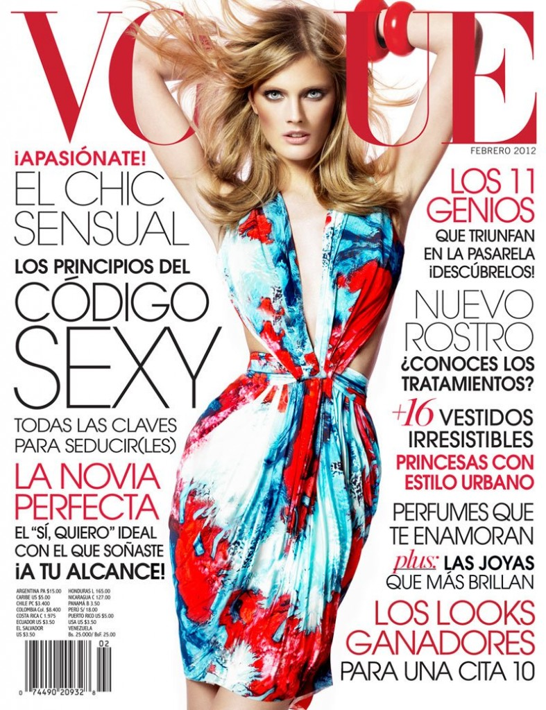 Beautiful French Blonde Victoria's Secret Model Constance Jablonski Modeling For The Cover Of Vogue Latino America (Vogue Latin America) Magazine Modeling In Beautiful Dresses As One Of The Highest Paid Models In The World.