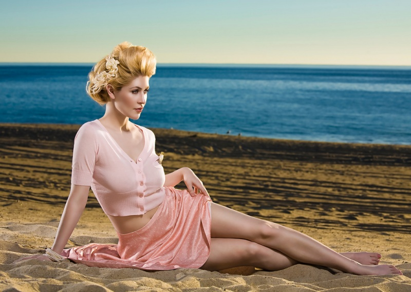 Beautiful Blonde ZARZAR MODELS Laurie Mannette Modeling In Southern California Beaches In Sexy Pink Dresses For Fashion Ads How To Get A Perfect Ponytail Advanced Hair Styling Techniques