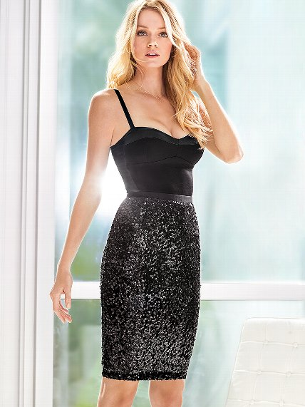 Beautiful Blonde Victoria's Secret Model Lindsay Ellingson Modeling In Sexy Victoria's Secret Black Sequin Pencil Skirts For Victoria's Secret Fashion Advertisements. How To Become A Victoria's Secret Angel.