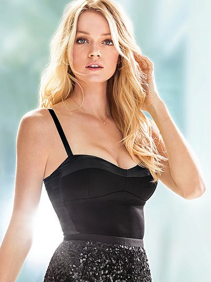 Beautiful Blonde Victoria's Secret Model Lindsay Ellingson Modeling In Sexy Victoria's Secret Sequin Pencil Skirts For Fashion Ads - How To Become A Victoria's Secret Model And The Secrets Of Becoming A Victoria's Secret Angel