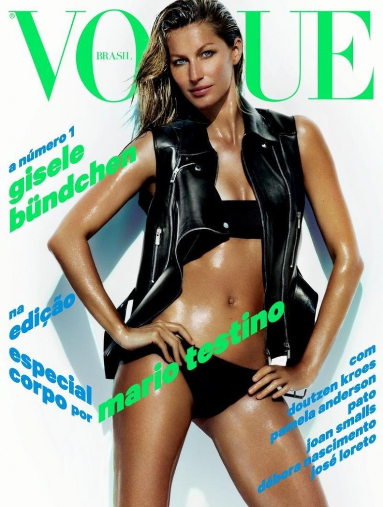 Beautiful Brunette Brazilian Model Gisele Bundchen Modeling For The Cover Of Vogue Brasil (Vogue Brazil) Magazine And Vogue Brasil Fashion Editorials Modeling As The Highest Paid Model In The World With Model Earnings For The Year Of $45 Million United States Dollars.