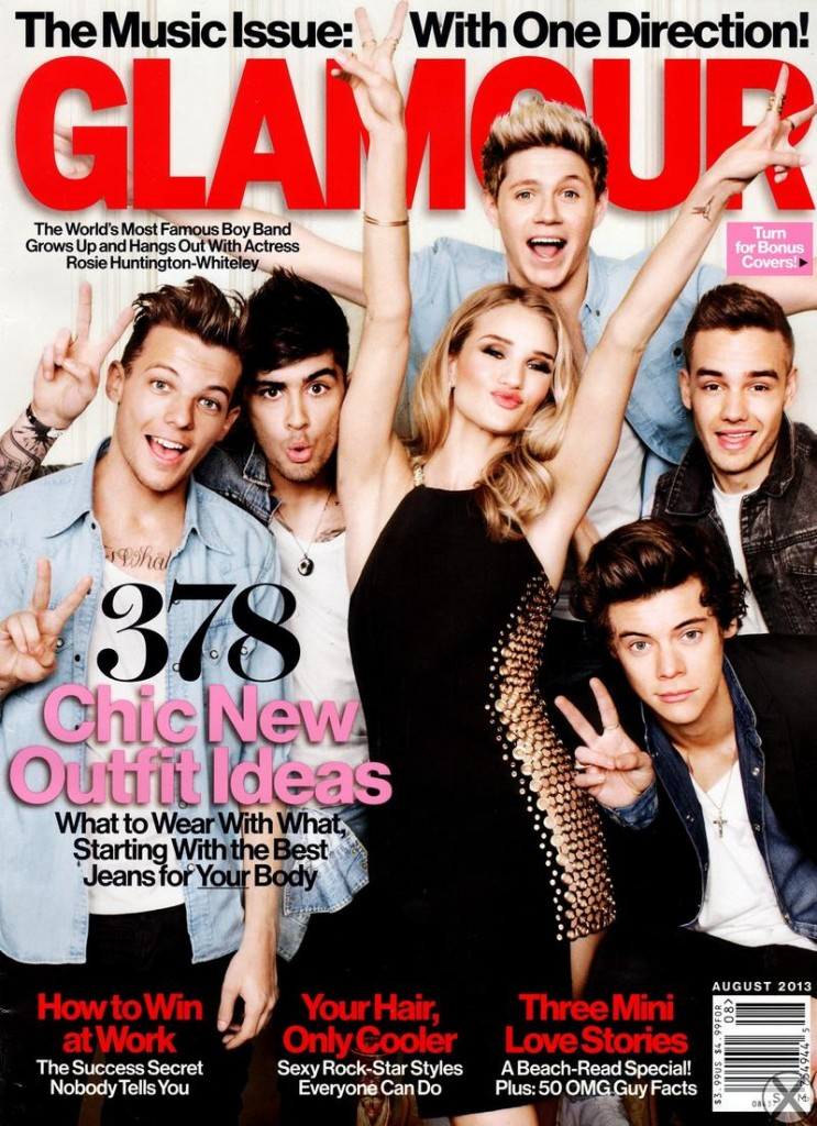 Beautiful Blonde British Model And Actress Rosie Huntington-Whiteley Modeling For The Cover Of Glamour Magazine Modeling As One Of The Highest Paid Models In The World Modeling With Boy Band Music Group One Direction.
