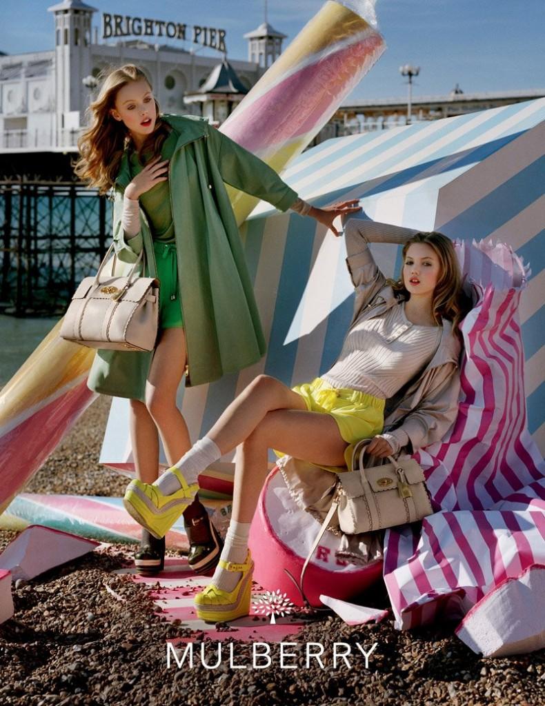 Beautiful Blonde Swedish Model Frida Gustavsson And American Blonde Model Lindsey Wixson Modeling For The Mulberry Fashion Advertising Campaign.