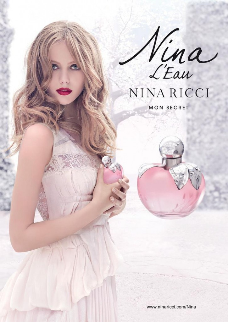 Beautiful Blonde Swedish Model With Blue Eyes Frida Gustavsson Modeling For The Nina L'Eau By Nina Ricci Perfume And Fragrance Fashion Campaign Modeling As One Of The Highest Paid Models In The World.