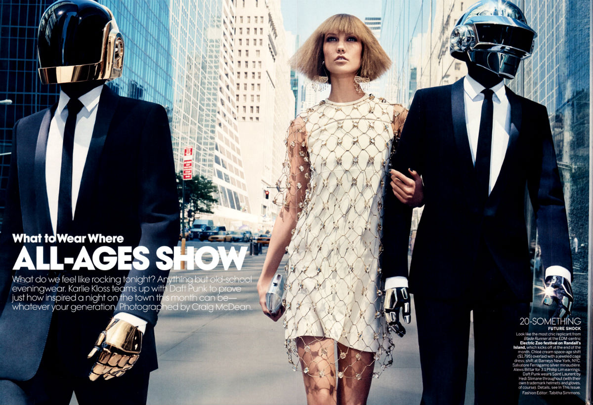 Vogue Magazine Fashion Editorial Featuring Daft Punk And American Model Karlie Kloss Modeling As One Of The Highest Paid Models In The World.