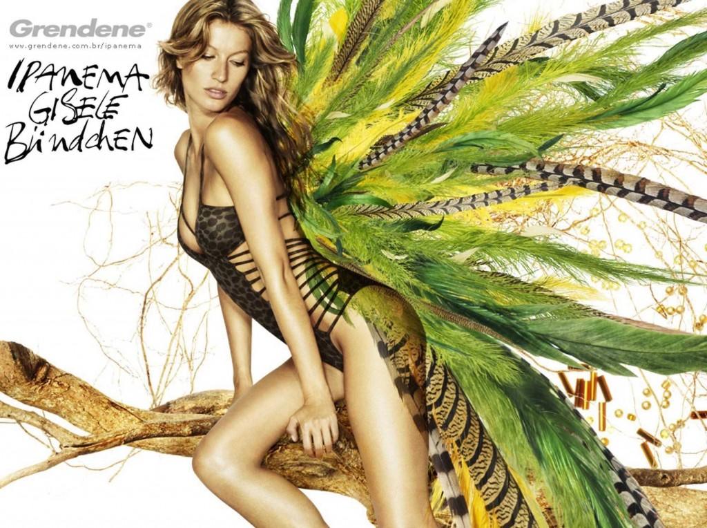 Beautiful Brazilian Fashion Model Gisele Bundchen Modeling For Grendene Ipanema Ads Modeling As The Highest Paid Model In Brazil (Brasil).