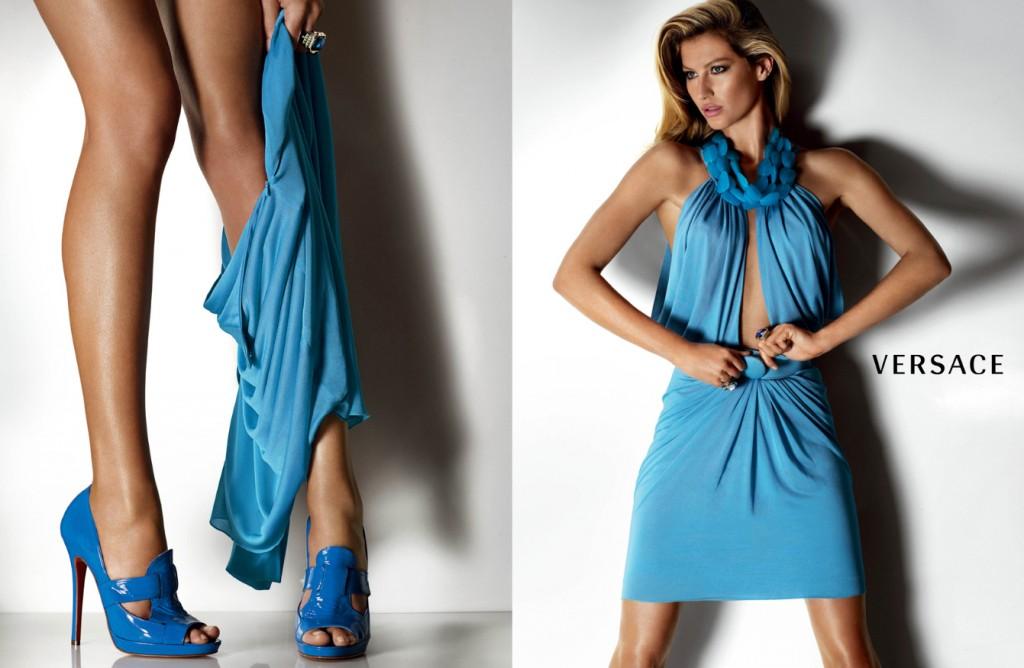 Beautiful Brazilian Fashion Model Gisele Bundchen Modeling For Versace Fashion Ads Modeling As The Highest Paid Model In Brazil (Brasil).