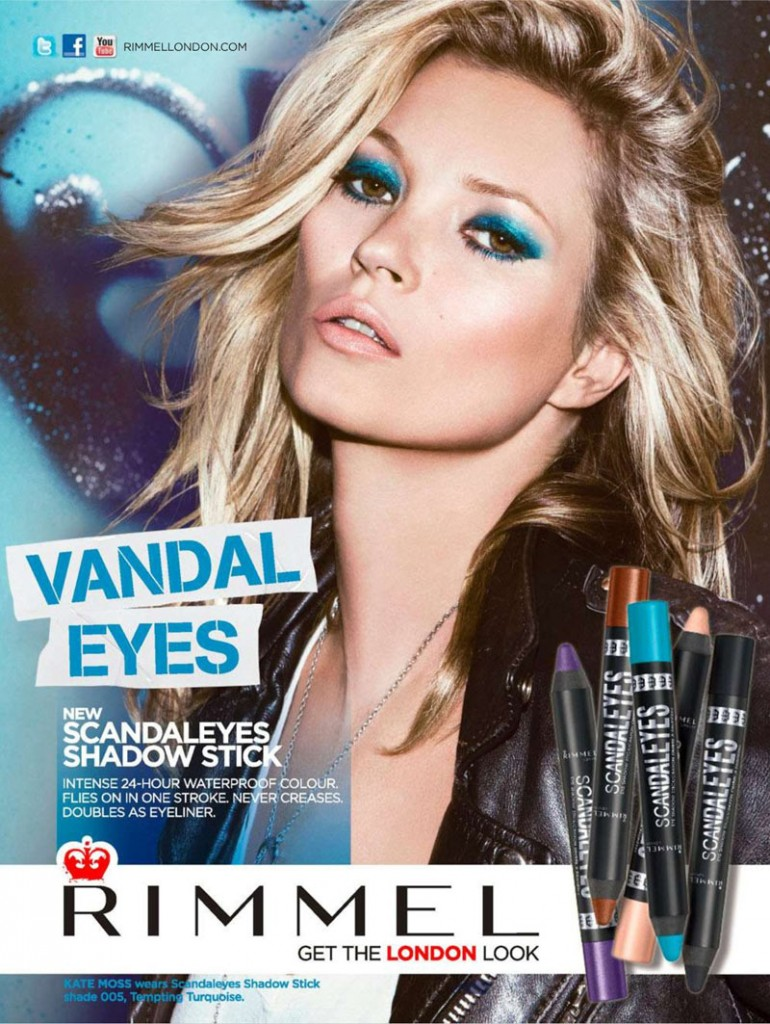 Beautiful Blonde British Fashion Model Kate Moss Modeling For Cosmetics Brand Rimmel London Fashion Ads Modeling As One Of The Highest Paid Models In The World.