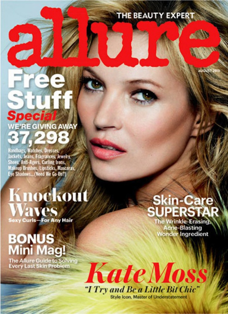 Beautiful Blonde British Fashion Model Kate Moss Modeling For The Cover Of Allure Magazine And Allure Fashion Editorials Modeling As One Of The Highest Paid Models In The World.