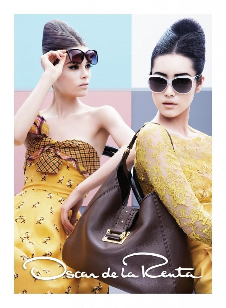 Beautiful Chinese Fashion Model Liu Wen Modeling With Fashion Model Caroline Brasch Nielsen (From Denmark) Modeling For Oscar de la Renta Fashion Ads And Fashion Advertisements.