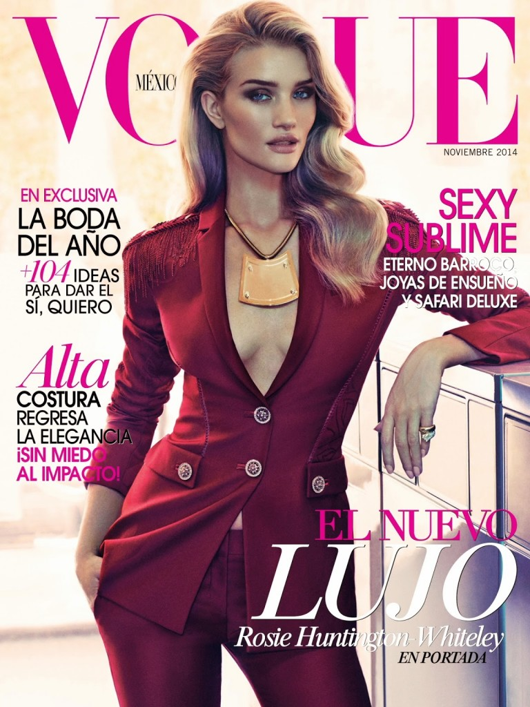 Beautiful Blonde Model Rosie Huntington-Whiteley Modeling For The Cover Of Vogue Mexico Modeling As One Of The Highest Paid Models In The World. Beautiful Hair And Makeup Looks For The Spring And Summer Seasons.