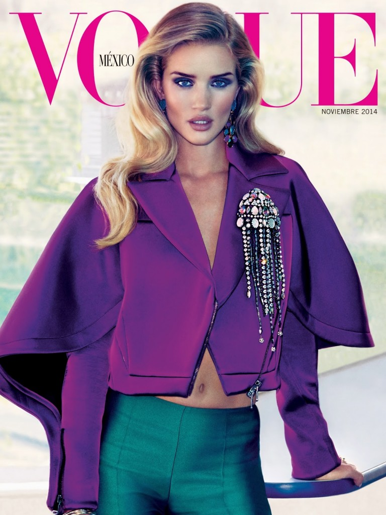 Beautiful Model Rosie Huntington-Whiteley Modeling For The Cover Of Vogue Mexico Modeling As One Of The Highest Paid Models In The World. Beautiful Hair And Makeup Looks For The Spring And Summer Seasons.