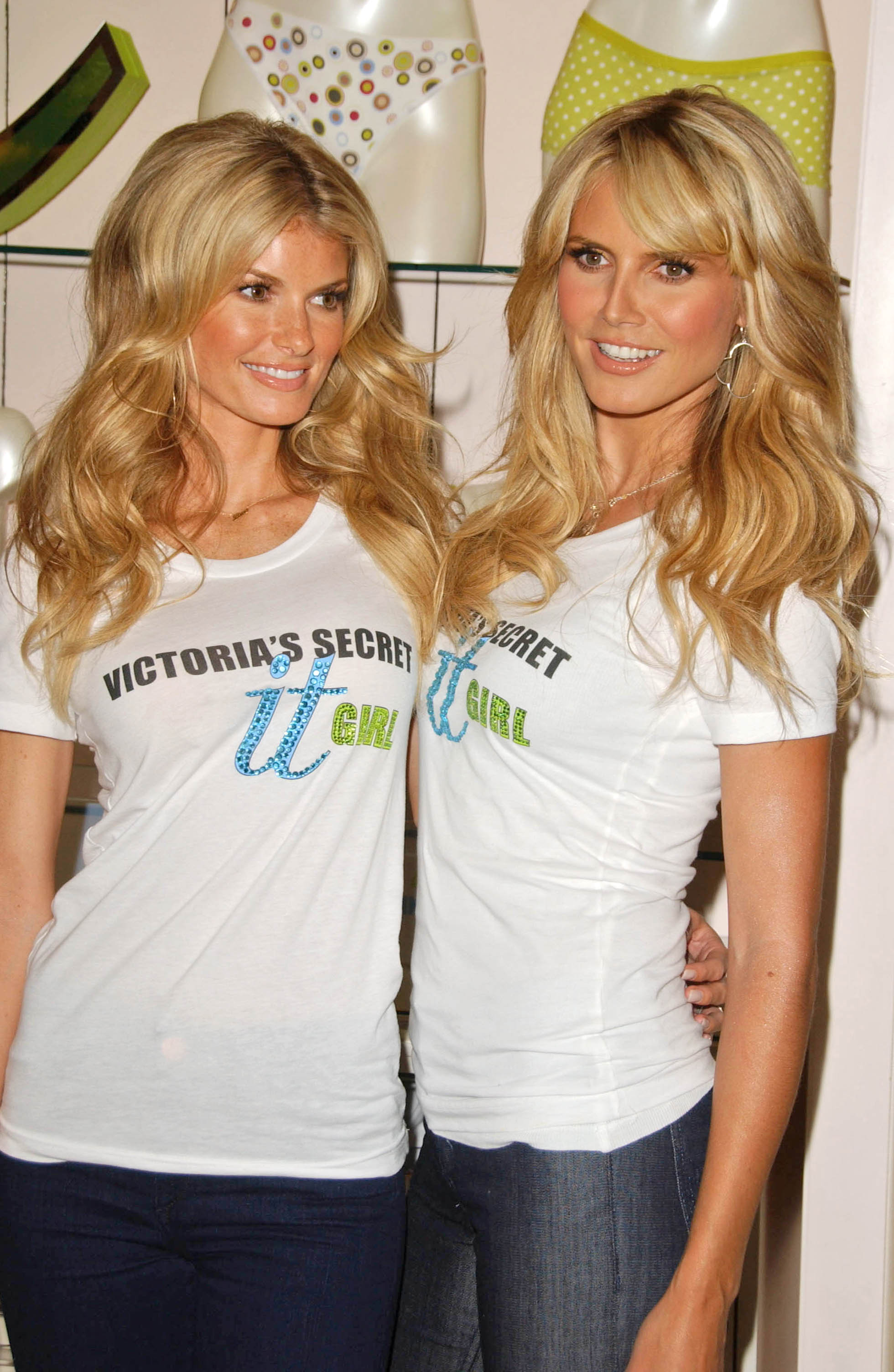 Famous Supermodels Marisa Miller And Heidi Klum Modeling In Los Angeles California Modeling For Victoria's Secret Body By Victoria Full-Coverage Uplift Bra.