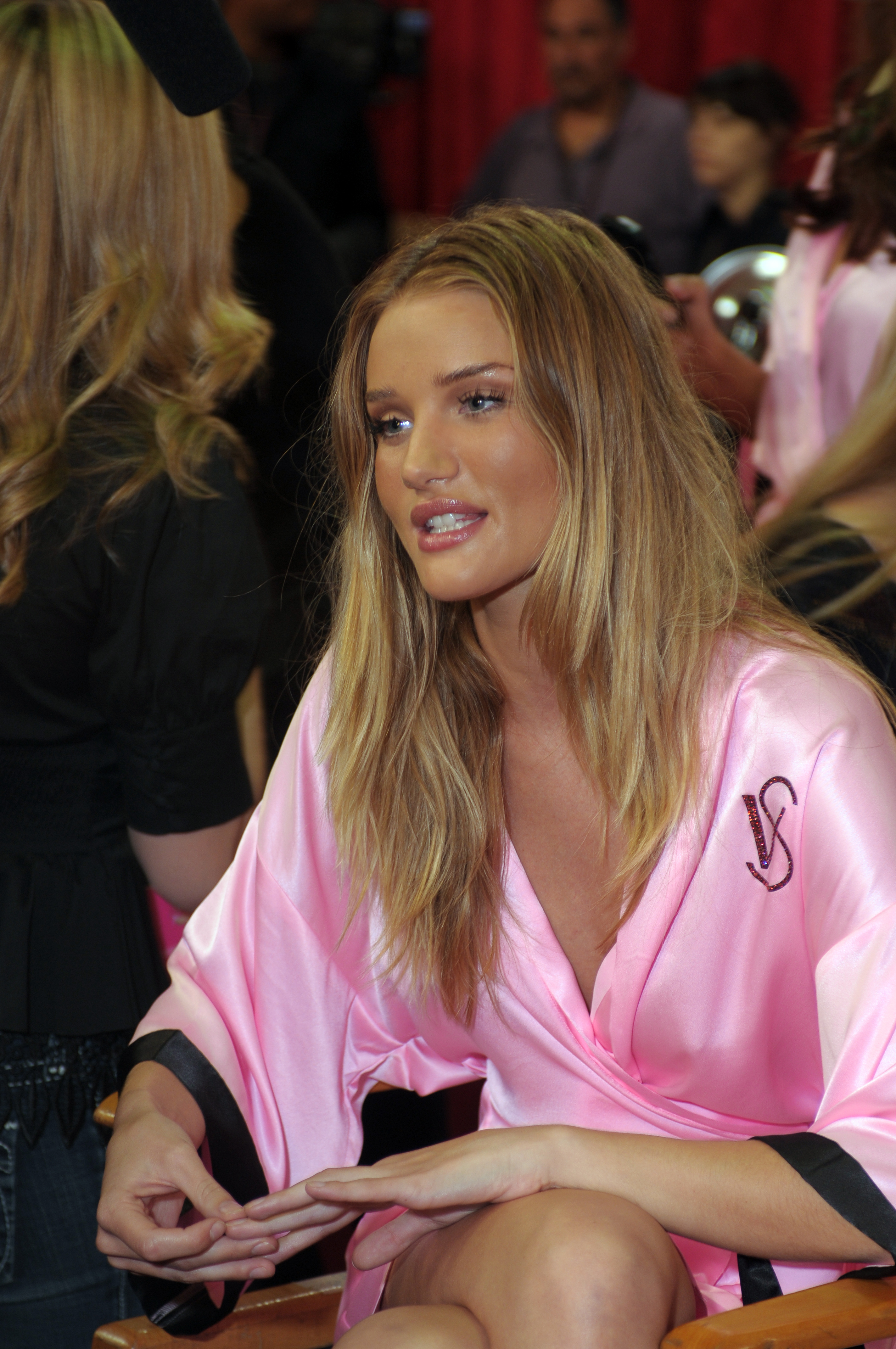 Famous Victoria's Secret Lingerie Model Rosie Huntington-Whiteley Getting Ready Backstage During The Victoria's Secret Fashion Show In New York City.
